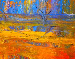An Acrylic painting by Margaret Morgan Watkins in the Abstract style  with main colour being Blue Red and Yellow and titled Wildflowers of the West at Dusk