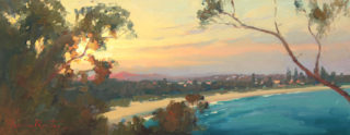 """An Oil painting by Gordon Rossiter in the Realist Impressionist style  depicting Beach Sunset and Trees with main colour being Brown Gold and Orange and titled """"Arakoon sunset South West Rocks"""""""