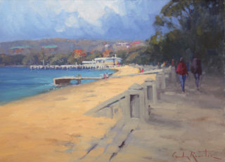 """An Oil painting by Gordon Rossiter in the Realist Impressionist style  depicting Beach Sea and Trees with main colour being Blue Green and Ochre and titled """"Autumn morning stroll"""""""