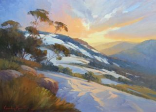 """An Oil painting by Gordon Rossiter in the Realist Impressionist style  depicting Landscape Sunrise with main colour being Brown Orange and White and titled """"Down Kosciusko way"""""""