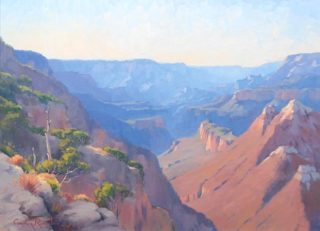"""An Oil painting by Gordon Rossiter in the Realist Impressionist style  depicting Landscape Hills Mountains and Rocks with main colour being Blue Brown and Orange and titled """"Grand Canyon afternoon"""""""