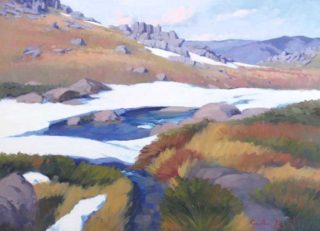 """An Oil painting by Gordon Rossiter in the Realist Impressionist style  depicting Landscape Mountains Rocks and Rural with main colour being Ochre White and Yellow and titled """"High country stream"""""""