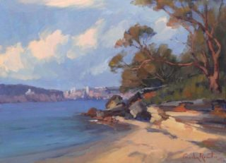 """An Oil painting by Gordon Rossiter in the Realist Impressionist style  depicting Beach River and Sea with main colour being Blue Brown and Ochre and titled """"Island corner"""""""