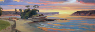 """An Oil painting by Gordon Rossiter in the Realist Impressionist style  depicting Beach Rocks and Sunrise with main colour being Blue Gold and Orange and titled """"Island sunrise Balmoral Beach"""""""