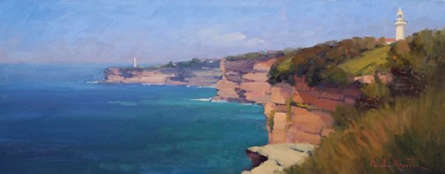 "Oil Painting by Gordon Rossiter titled ""Macquarie Lighthouse Sydney"""