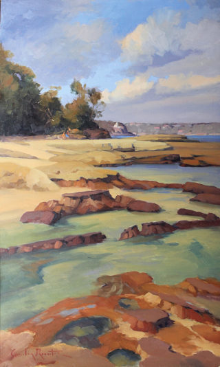 """An Oil painting by Gordon Rossiter in the Realist Impressionist style  depicting Beach Rocks and Sea with main colour being Blue Brown and Ochre and titled """"Rockpools Balmoral Beach"""""""