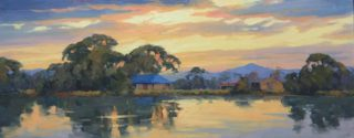 """An Oil painting by Gordon Rossiter in the Realist Impressionist style  depicting River Sunset Trees and Water and titled """"Summer Island sunset"""""""
