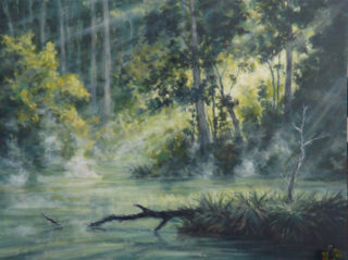 An Acrylic painting by John Duncan depicting River Bush and Trees and titled Mist On The Lefroy