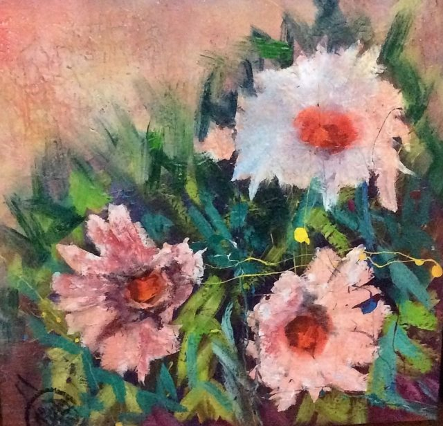 Mixed Media Painting by June McCotter titled In Bloom