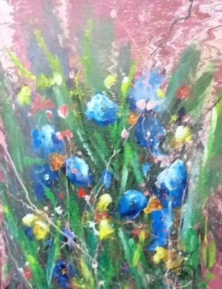 An Acrylic painting by June McCotter in the Contemporary style  depicting Flowers with main colour being Blue Green and Pink and titled In the Wild