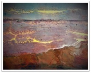 A Mixed Media artwork by June McCotter in the Abstract style  depicting  with main colour being Blue Brown and Purple and titled The Land