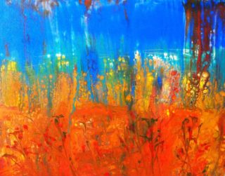 An Acrylic painting by Margaret Morgan Watkins in the Abstract style  with main colour being Blue and Red and titled Wild Poppies
