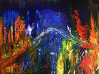 An Acrylic painting by Margaret Morgan Watkins in the Abstract style  with main colour being Blue Red and Yellow and titled Southbank at Night - Melbourne