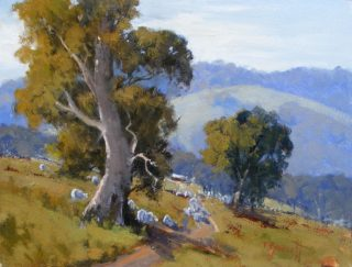An Oil painting by Trish Bennett in the Realist Impressionist style  depicting Landscape Rural with main colour being Blue Green and Ochre and titled Life is Good