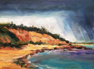 An Oil painting by Roz McQuillan in the Impressionist style  depicting Seascape Beach and Sea with main colour being Blue and Orange and titled Rain over Red Bluff Cliffs