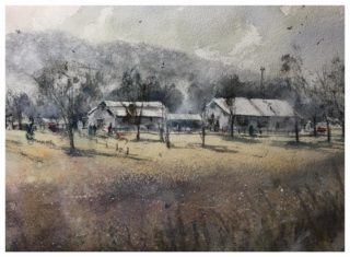 A Watercolour artwork by Tony White in the Impressionist style  depicting Landscape Buildings Farmland and Mountains with main colour being Blue Grey and Ochre and titled A Place to Call Home