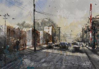 A Watercolour artwork by Tony White in the Impressionist style  depicting Landscape Cars City and Streets with main colour being Blue Brown and Gold and titled Suburban Light