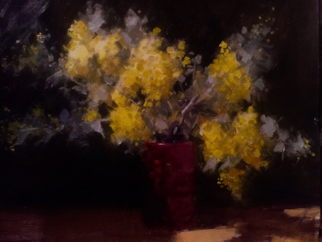 Oil Painting by Don James titled Early Wattle 2018