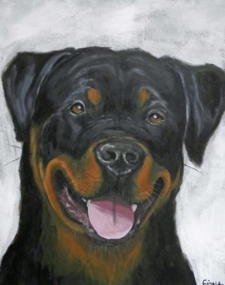 An Acrylic painting by Fiona Groom in the Realist style  depicting Animals and Dogs with main colour being Black Brown and Grey and titled Jethro