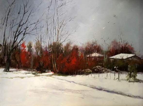 Oil Painting by Joan Denner titled Snow on the Ground NZ