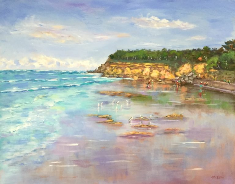 Oil Painting by Lyn Ellis titled Tides out at Point Lonsdale