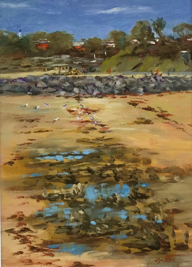 Painting by Lyn Ellis titled Rocks and Reflections