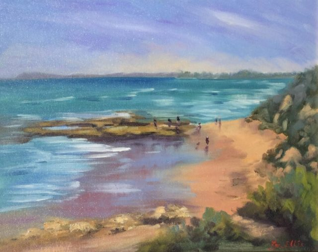 Oil Painting by Lyn Ellis titled Back Beach at Point Lonsdale