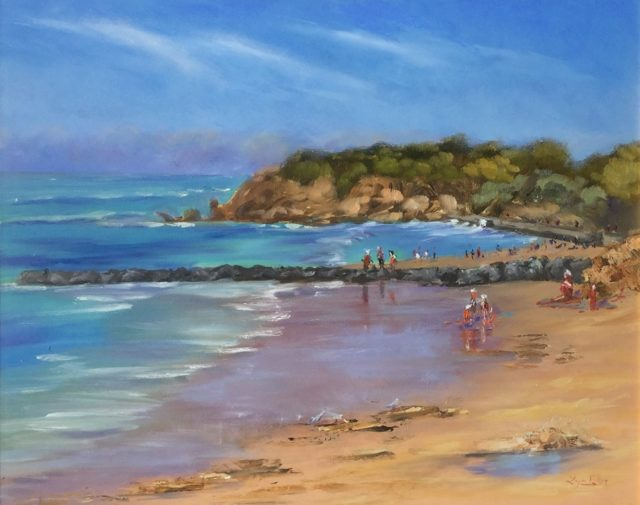 Painting by Lyn Ellis titled Summer Fun at Point Lonsdale