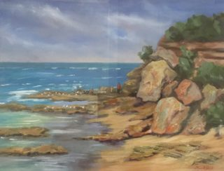An Oil painting by Lyn Ellis in the Realist Impressionist style  depicting Seascape Beach Rocks and Water with main colour being Blue Brown and Ochre and titled Chasing the Seagulls at Point Lonsdale