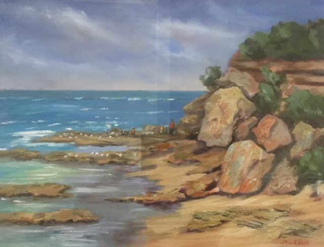Oil Painting by Lyn Ellis titled Chasing the Seagulls at Point Lonsdale