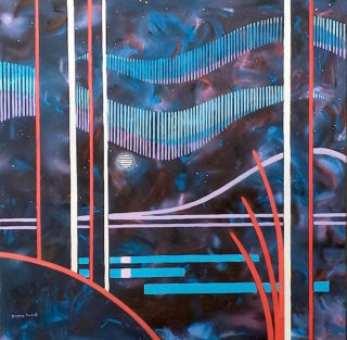 An Acrylic painting by Gregory Pastoll in the Abstract style  depicting Landscape Moon Mountains and Night with main colour being Black Blue and Purple and titled Lines of the Night