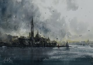 A Watercolour artwork by Tony White in the Impressionist style  depicting Landscape Buildings River and Sea with main colour being Blue and Grey and titled Venice Approaching Storm
