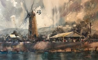 A Watercolour artwork by Tony White in the Impressionist style  depicting Landscape Buildings Rain and Rural with main colour being Blue Brown and Ochre and titled Callington Mill