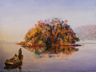 An Oil painting by Jeremy Holton in the Realist style  depicting Landscape Fantasy Sea and Trees with main colour being Blue Orange and Pink and titled Encounter at Wineglass Bay