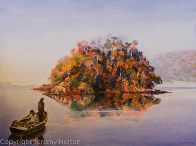 Oil Painting by Jeremy Holton titled Encounter at Wineglass Bay