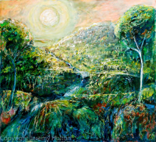 An Oil painting by Jeremy Holton in the Semi-Abstract Impressionist style  depicting Landscape Bush Mountains and Outback with main colour being Blue and Green and titled Land of dreams
