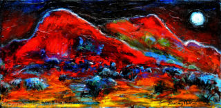 An Oil painting by Jeremy Holton in the Impressionist style  depicting Landscape Bush Mountains and Sunset with main colour being Black and Red and titled The sound of the night