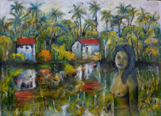 An Oil painting by Jeremy Holton in the Impressionist style  depicting Landscape Creek Nude and Oriental with main colour being Green and Red and titled The lagoon