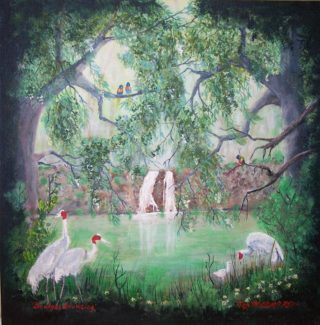 An Acrylic painting by Rex Woodmore in the Contemporary Realist style  depicting  Birds Bush and Creek with main colour being Black Brown and Green and titled Brolgas Browsing