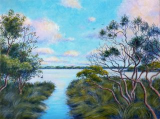 An Acrylic painting by Gregory Pastoll in the Realist Impressionist style  depicting Landscape River and Sunset with main colour being Blue Green and Pink and titled Canning River Sunset