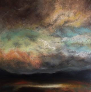 An Acrylic painting by Cathy Yarwood-Mahy in the Semi-Abstract style  depicting  Hills Rural and Sunset with main colour being Black Blue and Brown and titled Sweet Caress