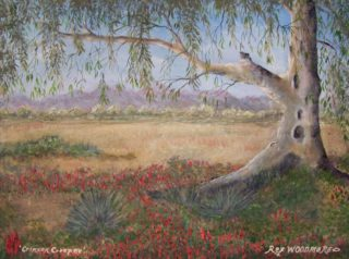 An Acrylic painting by Rex Woodmore in the Contemporary style  depicting  Bush Farmland and Flowers with main colour being Blue Brown and Green and titled Crimson Creeper