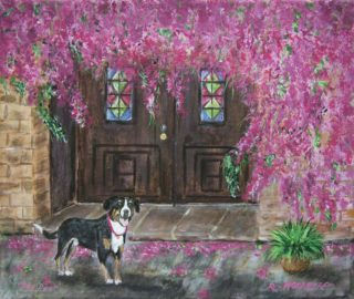 An Acrylic painting by Rex Woodmore in the Contemporary Realist style  depicting  Animals Buildings and Dogs with main colour being Brown Green and Red and titled Dog Door