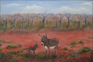 An Acrylic painting by Rex Woodmore in the Contemporary Realist style  depicting Desert Animals and Bush with main colour being Blue Brown and Ochre and titled Desert Donkeys