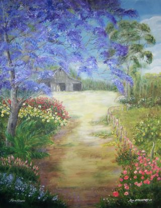 An Acrylic painting by Rex Woodmore in the Contemporary Realist style  depicting Landscape Farmland Flowers and Garden with main colour being Blue Green and Pink and titled Farm Flowers