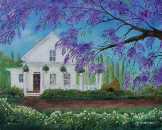 An Acrylic painting by Rex Woodmore in the Contemporary Realist style  depicting Landscape Buildings Flowers and Garden with main colour being Blue Green and Ochre and titled Here's Home