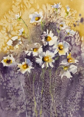 A Watercolour artwork by Joan Denner in the Contemporary Realist style  depicting Flowers with main colour being Purple White and Yellow and titled Daisies