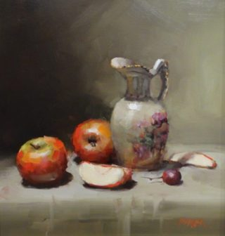 An Oil painting by Joan Denner in the Realist Impressionist style  depicting Still Life Fruit and Jugs with main colour being Grey and Red and titled Ornamental Jug