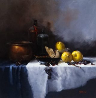 An Oil painting by Joan Denner in the Realist style  depicting Still Life Drapery Fruit and Jugs with main colour being Purple White and Yellow and titled Quinces