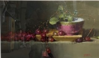 An Oil painting by Joan Denner depicting Still Life Fruit and titled Still Life with Pink Bowl & Grapes